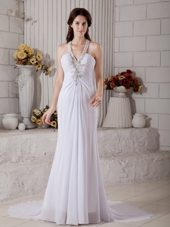 Column V-neck Brush Train Chiffon Wedding Dress