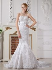 Luxurious Wedding Dress Mermaid Lace Sash Flowers