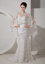 2013 Romantic Mermaid Lace Wedding Dress Court Train