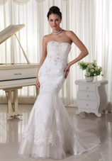 Appliques Beaded Mermaid Fashionbale 2013 Wedding Dress Sweep