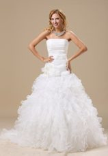 Exclusive Ruffles Hand Made Court Organza 2013 Wedding Dress