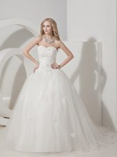 2013 Beautiful Sweetheart Court Wedding Dress Tulle Appliques