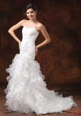 Ruched Ruffle layers Mermaid Wedding Dress Beading
