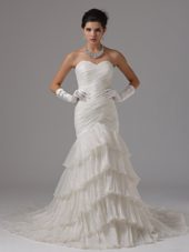 Ruffled Layers Wedding Dress For 2013 Mermaid With Pleats