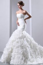 Beaded Ruffles 2013 Exclusive Wedding Dress Mermaid Court