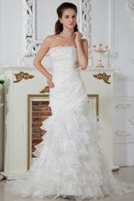 Column Popular Wedding Dress 2013 Organza Ruch Appliques