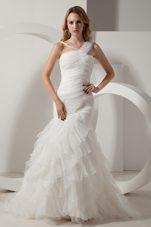 V-neck Court Organza Ruffles Wedding Dress Mermaid
