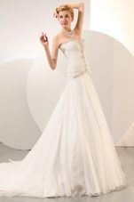 Beading Wedding Dress 2013 A-line Sweetheart Chapel Organza