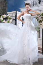 Beading Appliques Wedding Dress 2013 A-line Sweetheart Organza