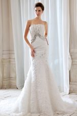 Beaded Mermaid Wedding Dress With rolling Flowers