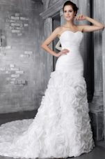 2013 Romantic Wedding Dress With Flower Princess Chapel Pleats