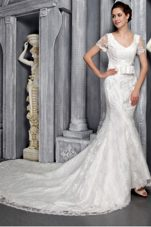 Column V-neck Chapel Lace Wedding Dress Short Sleeves Sashed