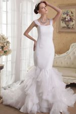 Mermaid Straps Court 2013 Wedding Dress Satin Organza Ruffles