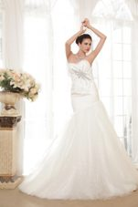 Wedding Dress 2013 Trumpet Sweetheart Chapel Organza Sequins