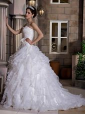 A-line Ruffles Hand Made 2013 Romantic Wedding Dress