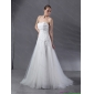 2015 White Strapless Wedding Dresses with Brush Train and Appliques
