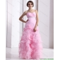 Popular Baby Pink Sweetheart Ruching Wedding Dresses with Ruffles and Beading