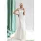 Popular White High Neck Lace Wedding Dresses with  Brush Train