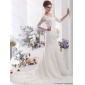 Popular White V Neck Lace Wedding Dresses with  Brush Train and Half Sleeves