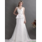 Ruching White V Neck Ruffled 2015 Wedding Dresses with Brush Train