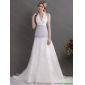2015 Popular Halter Top Wedding Dress with Lace and Ruching