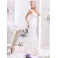 2015 White Sweetheart Beading and Lace Wedding Dresses with Brush Train
