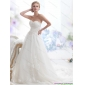 Popular Sweetheart Brush Train Wedding Dress with Beading