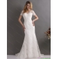 2015 Classical V Neck Lace Wedding Dress with Short Sleeves