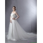 2015 Luxurious Strapless A Line Wedding Dress with Lace and Ruching
