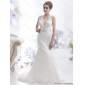 2015 New Arrival Mermaid Beading Wedding Dress with Brush Train