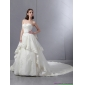 Beautiful Beaded White Wedding Dresses with Chapel Train