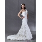 Beautiful One Shoulder White Wedding Dresses with Hand Made Flower