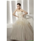 Beautiful Ruffled White Wedding Dresses with Rolling Flowers