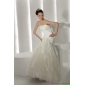 Beautiful Strapless Ruffles and Appliques White Wedding Dresses for 2015