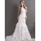 Beautiful White Halter Top Wedding Dresses with Ruffled Layers and Ruching