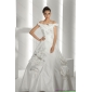 Beautiful White Off Shoulder Wedding Dresses with Cathedral Train and Hand Made Flowers