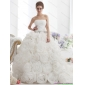 Beautiful White Strapless Wedding Dresses with Rolling Flowers and Chapel Train
