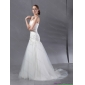 Beautiful White Wedding Dresses with Sequins and Brush Train