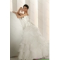 Elegant Beaded Strapless White Wedding Dresses with Ruffled Layers