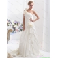 Elegant One Shoulder Wedding Dress with Hand Made Flowers
