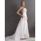 New Arrival White Brush Train Sweetheart Ruching Wedding Dresses with Hand Made Flowers