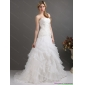 New Arrival White Strapless Pleated Wedding Dresses with Ruffled Layers