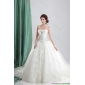 New Arrival White Sweetheart Bridal Gowns with Appliques and Brush Train