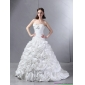 New Arrival White Sweetheart Wedding Dresses with Hand Made flowers and Brush Train
