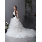 White Chapel Train Beautiful Wedding Dresses with Black Waistband