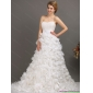 White Sweep Train Beautiful Wedding Dresses with Beading