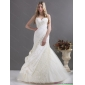Beautiful A Line Wedding Dress with Ruching and Lace for 2015