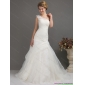 Elegant One Shoulder Wedding Dresses with Ruching and Hand Made Flowers