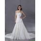 Affordable Beaded Strapless White Wedding Dresses with Chapel Train