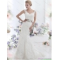 Affordable White Backless Wedding Dresses with Sash and Lace